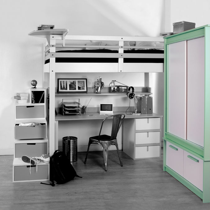 Lits mezzanines modulable for Bureau faible largeur