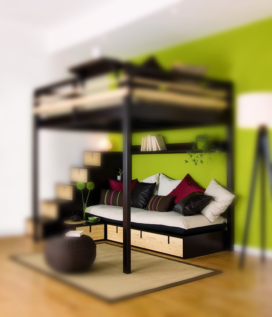 Lits mezzanines modulable - Lit 2 places sureleve ...