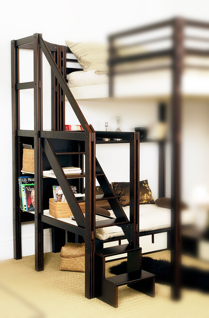 lit mezzanine places avec escalier. Black Bedroom Furniture Sets. Home Design Ideas