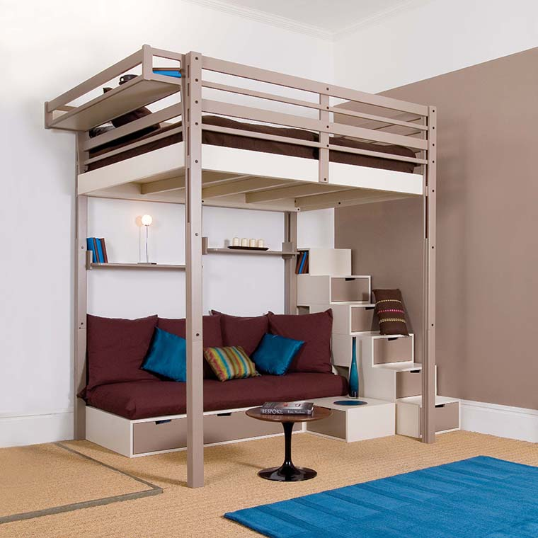 Mezzanine beds espace loggia - Adult loft beds with stairs ...