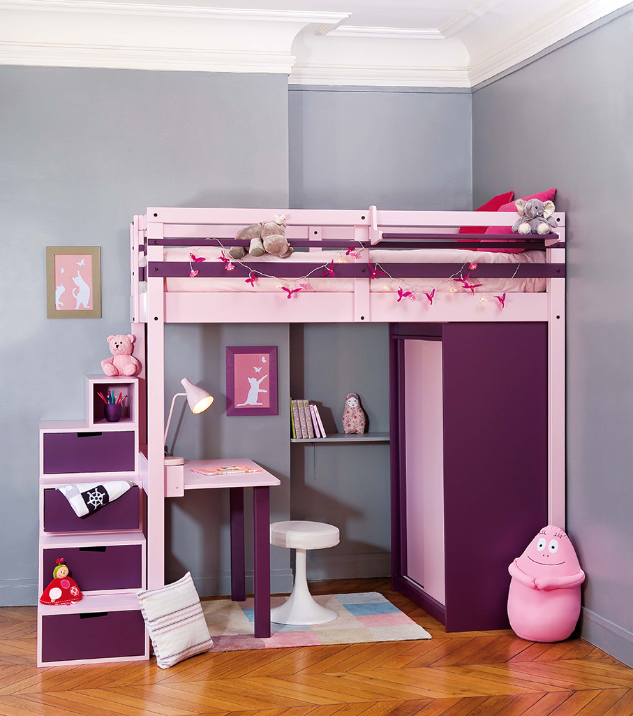 Mezzanine beds young urban mezzanine for Lit avec bureau pour fille